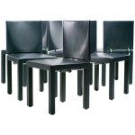 Set of Six Dark Blue Arcadia Chairs by Paolo Piva for B&B Italia