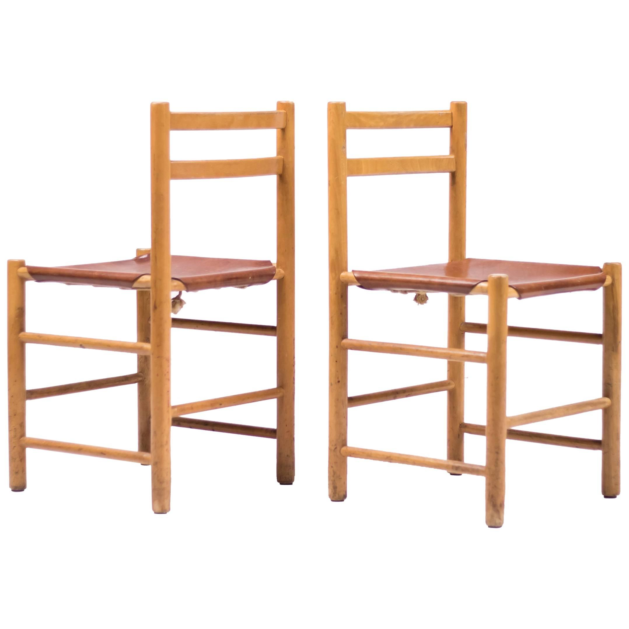 Pair Of Minimalist Chairs In Maple And Leather