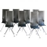 Set of Eight Tito Agnoli High Back Leather Chairs