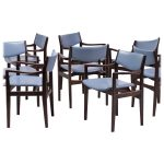 Set of Eight Scandinavian Armchairs in Mahogany and Leather