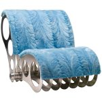 Spectacular One-Off Aluminium Chair in Baby Blue Mink